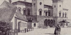 Stik af den fine nye banegård fra 1849. Soldaten i forgrunden er måske på vej til krigen i 1848-51
